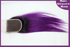 3 bundles 300g Purple Ombre Remy Human Hair Weaves with Lace Top Closure 4''x4''