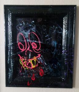 "Original JUSTIN AERNI circa 2020 PAINTING dark art abstract : ""PSYCHO KILLER"""