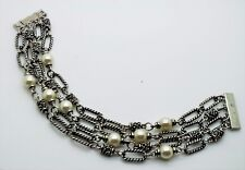 B331 Design Creme Pearls Silver Cable Chain Magnetic Clasp Fashion Bracelet