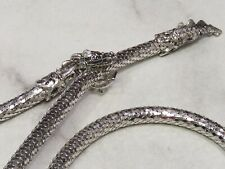 Rare 1970's Whiting & Davis Silver Mesh Dragon Belt Necklace