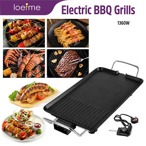 Electric Nonstick Teppanyaki Table Top Grill Griddle Barbecue BBQ Camping Home
