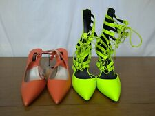 Women's Shoes Heel Lot Of 2 Zara Basic Steve Madden Orange Yellow Summer size 9