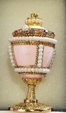 Collection Volga Carved Quail Egg Handmade Decorated Ring Gift Box Rhinestone