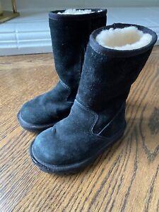 Ugg Australia Toddler Boots Black Seude Zipper Sz 10 ~ NICE & WARM ~
