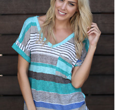 Women Summer Short Sleeve T-shirt Loose Irregular Striped V Neck Tops Plus Size