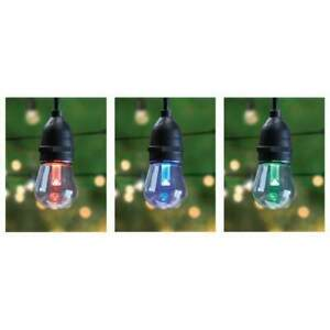 Feit Electric 30 Foot LED Color Changing String Lights 15 Light Sockets 17 Bulbs
