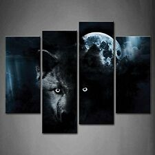 4 Panel Wall Art Black Wolf And Full Moon Painting The Picture Print On Canvas