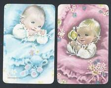 #915.069 Blank Back Swap Cards -MINT pair- Babies on pink & blue backgrounds