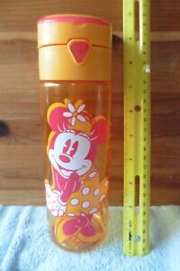 Disney Store Orange Minnie Mouse Sports Water Bottle With Push Button Opening