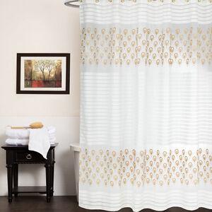 "Shower Curtain 72""x72"" Beige/Gold Popular Bath Seraphina Bathroom"