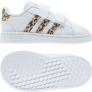 Adidas Infants Grand Court Leopard Trainers (White)