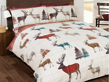 Woodland Stag Bedding Set Duvet Cover Red Cream Single Double King