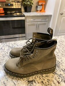Dr. Martens - 24540 Combat Boots - Soft Suede - Green/Gray Size 10 Men 11 Women