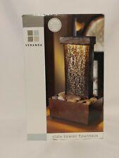 "Veranda -  Slate RESIN -  Tower Fountain & LED LIGHT WITH MINI STONES - 11"" TALL"