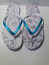 AEROPOSTALE WOMENS FLIP FLOPS SANDALS SHOES FLATS TURQUOISE/WHITE SHIMMER  8