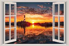 Lighthouse Sunset Ocean Coast Beach Window Color Wall Sticker 30x20