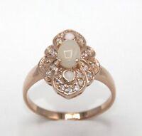 Ring  OPAL & Cz  Sterling Silber 925  Rot Vergoldet  Ø 18.1 mm