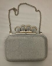 Beads and Rhinestones Evening Clutch Bag Purse Wedding Party with Chain
