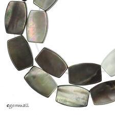 "16"" Black Rainbow Mother of Pearl Shell Flat Barrel Beads 10x15mm #75140"