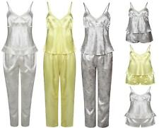 LADIES SATIN PYJAMA SET 3 PIECE SET LACE VEST SHORTS BOTTOMS EX STORE BRAND NEW
