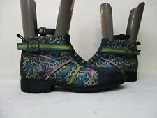 SOCOFY Blue Floral Zip Ankle Boots Womens Size 42 EUR