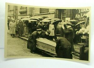 Antique Postcard Real Photo Funeral Dignitary Raining Coffin casket crowd RPPC