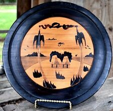 Handcrafted WOODEN Plate Picture Tray village Palm Trees Round lite/dark colors