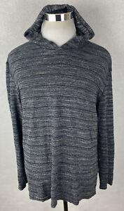 John Varvatos Lightweight Pullover Hoodie Sweater Gray Black Men's Size Large L