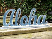 Fair Trade Hand Carved Made Wooden Beach Nautical Hawaii Aloha Freestanding Sign
