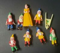 Vintage Snow White and the Seven Dwarves Miniatures Plastic Cake Toppers