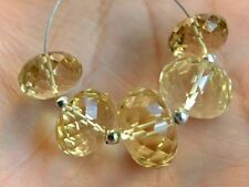 10-12mm. Eye Clean Lemon Quartz Faceted Rondelle Laser Cut Beads (5pcs)