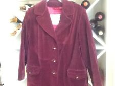 Vintage Lou Ritchie Made In Canada 1960 Plum/wine Velvet Coat Sz Large
