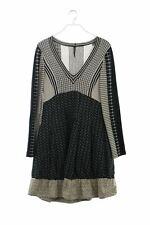 PIANURA STUDIO-Robe avec laine D 40 Cool beige feuilles femmes Dress Robe