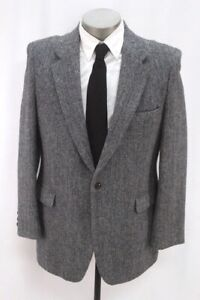vintage gray blue herringbone HARRIS TWEED blazer jacket sport suit coat 44 R