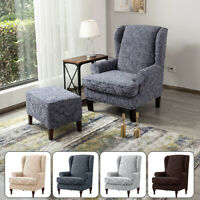2 Piece Wing Chair Slipcovers Replacement Stretchy Wingback Armchair Cover