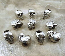 10 Pewter Beads -12mm SKULL with 4.5mm Vertical Hole - 5475
