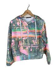 Wildfox Womens Small Regan Galaxy Glitch Zip Up Hoodie Sweatshirt