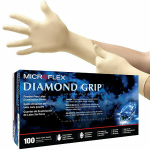 MICROFLEX Diamond Grip Latex Gloves SMALL MF-300 (9 Boxes, 900 Gloves Total)