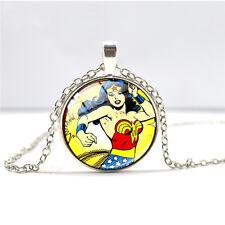 Wonder- Woman Cabochon Glass Dome Silver Chain Pendant Necklace  DD+ 616