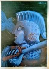 "Alekos Fassianos  ""Blue Warrior"" - Open Edition Offset-Litho Print Greek 2000"