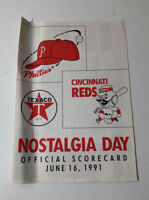 Cincinnati Reds VS Philadelphia Phillies Nostalgia Day Official Score Card 1991