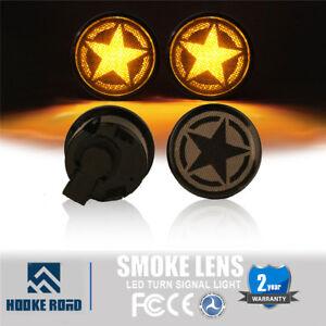 Pair Smoke Lens Amber LED Indicator Turn Signal Light For Jeep Wrangler JK 07-18