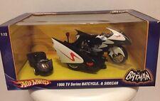 1966 TV Series BATCYCLE & SIDECAR - Hotwheels 2009 Mattel MIB 1:12 Die Cast