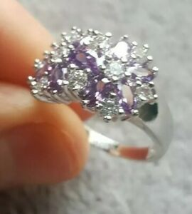 Womans Size L. Amethyst & White Diamond Silver Ring