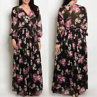 Plus Maxi Dress Floral Magenta Chiffon Sheer Wrap Print Long Sleeve Wrap Sweep