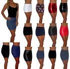 WOMENS MINI SHORT STRETCH HIGH WAIST SKIRT SIZE UK 6 8 10 12 14 16 18 20 PLUS