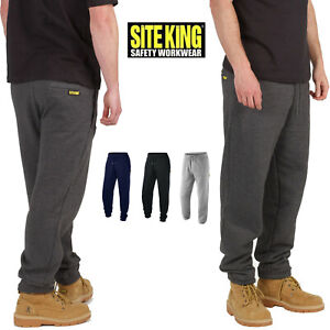 Mens Work Jogging Bottoms By SITE KING Size S to 5XL FLEECE TRACKSUIT ZIP POCKET