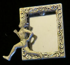 Plate & Oxidized Matte Silver Cross-Country Runner Female Photo Pin Silver