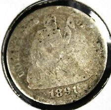 1891 Seated Liberty Silver Dime, Good condition, Rare! d255