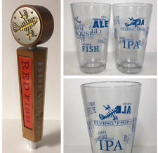 Flying Fish Brewing Co Red Fish Tap Handle & 16 oz Glass Set (2) Glasses * New *